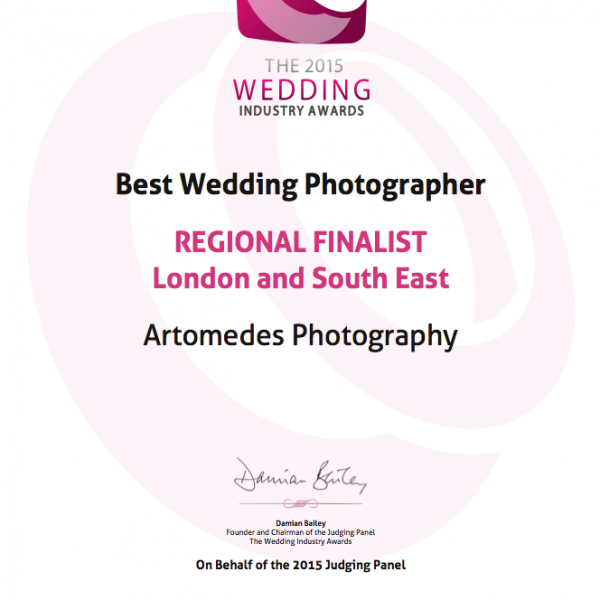 Wedding Industry Awards - Artomedes Shortlisted!!
