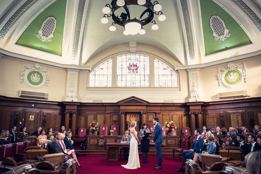 wedding ceremony in the council chamber at islington town hall