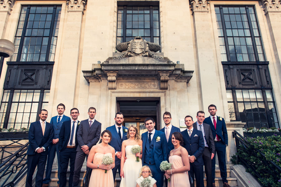 family group photo at islington town hall wedding