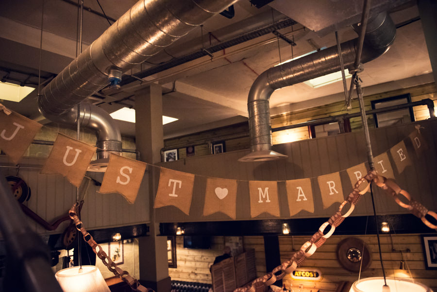 Just Married sign at the Artisan of Clerkenwell wedding reception