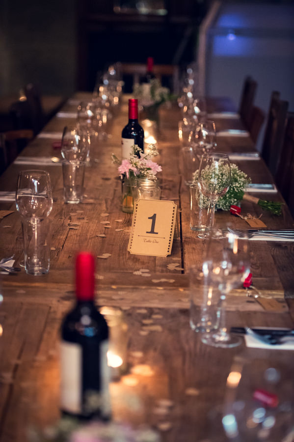 table details at the Artisan of Clerkenwell wedding reception