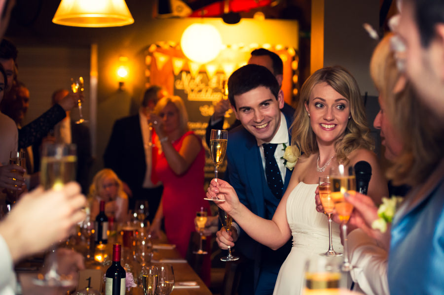 Bride and Groom toasting their wedding guests at their the Artisan of Clerkenwell wedding