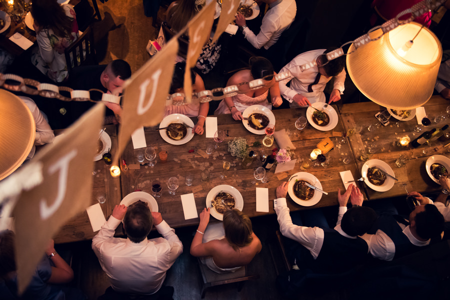 guests eating dinner at the Artisan of Clerkenwell wedding