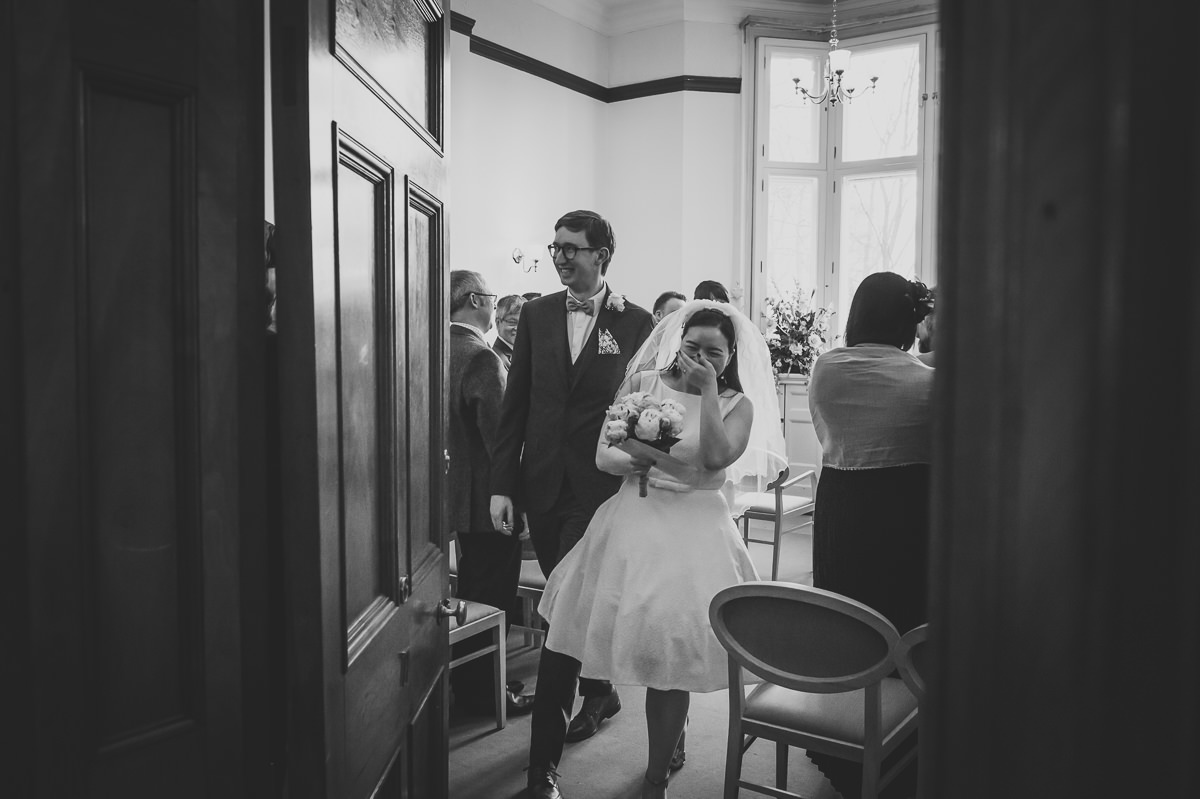 Newly weds exiting the ceremony room at Croydon Registry office