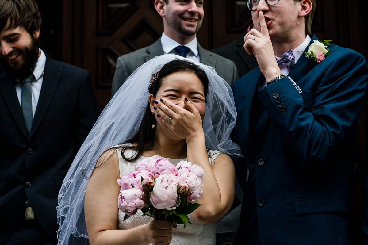 Bride laughing at her Croydon Wedding