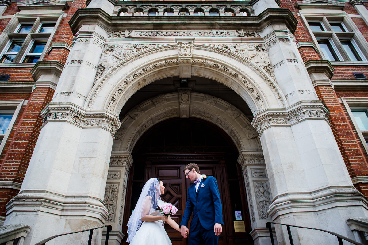 Bride and Groom at the old town hall in Croydon just after their wedding