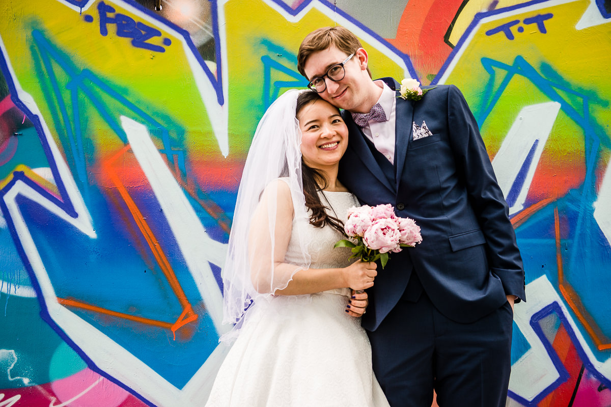 Portrait of newly weds after their Surrey wedding