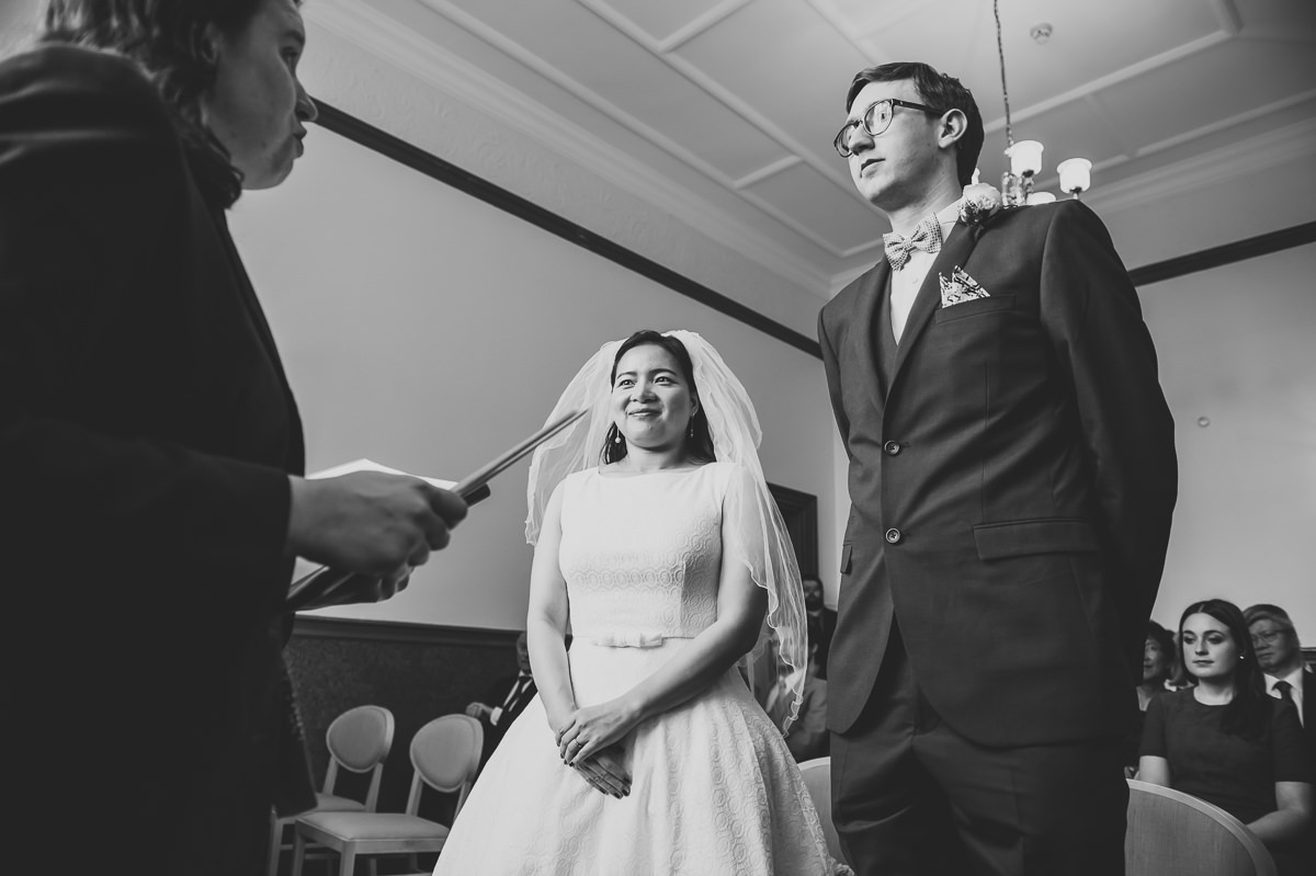 Bride and Groom in Croydon Registry office for their wedding