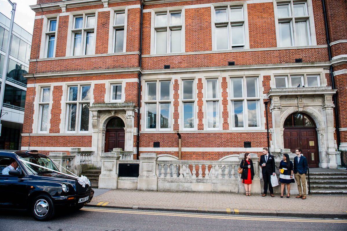 Croydon Registry Office Spring Wedding Arrival of the bride and groom