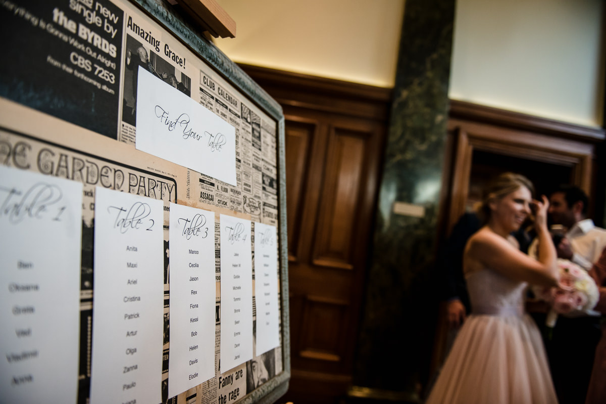 Town Hall Hotel wedding view of the seating plan