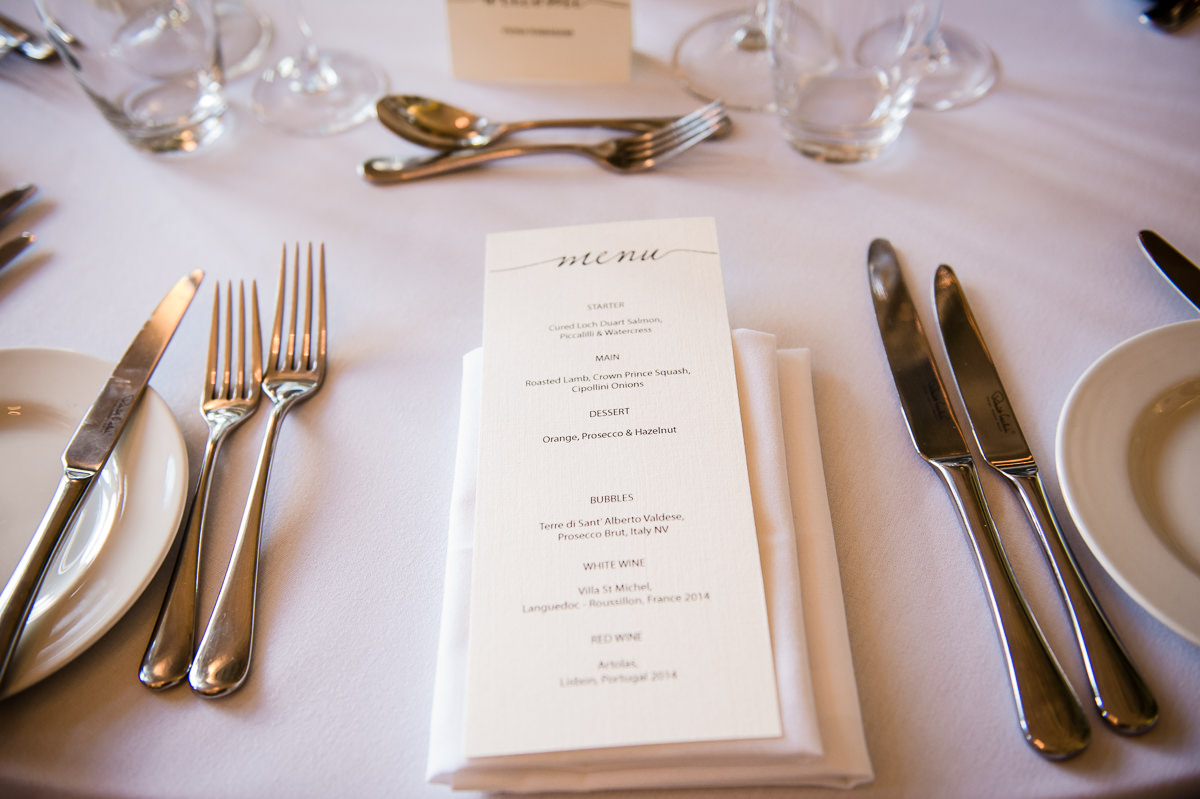 Town Hall Hotel wedding photo of wedding day menu