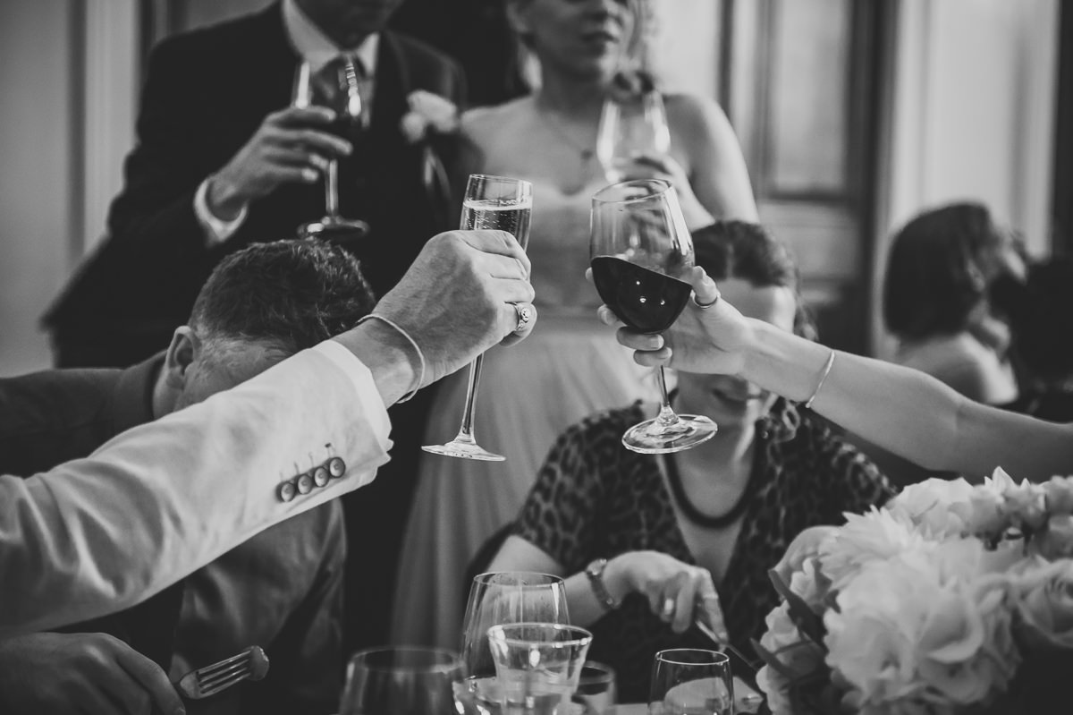 Town Hall Hotel wedding guests clinking wine glasses