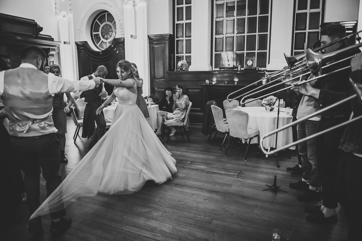 Bride dancing with her brother at her Town Hall Hotel wedding