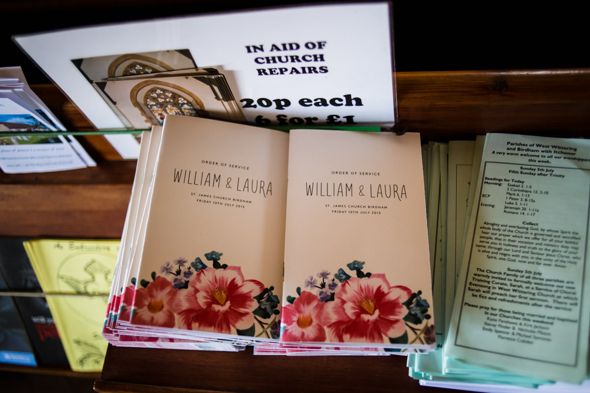 orders of service for William & Laura's wedding