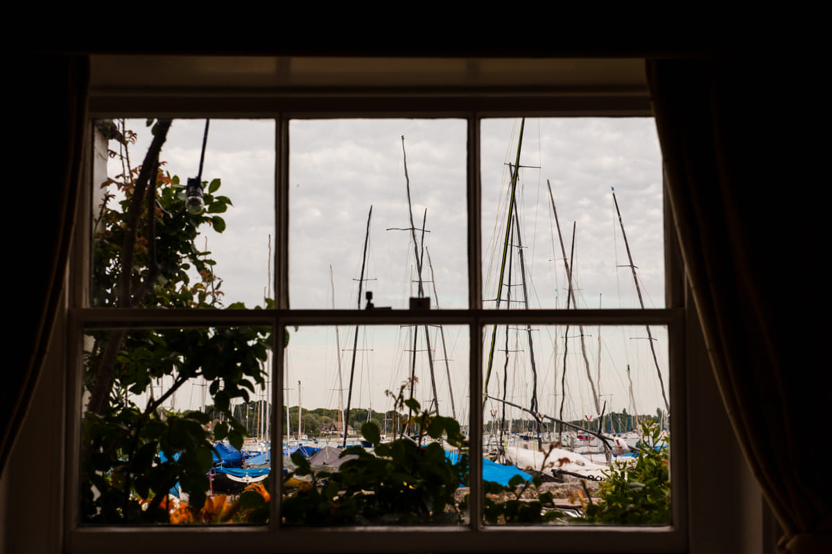 View from the dinning room onto the harbour at Itchenor Sailing Club
