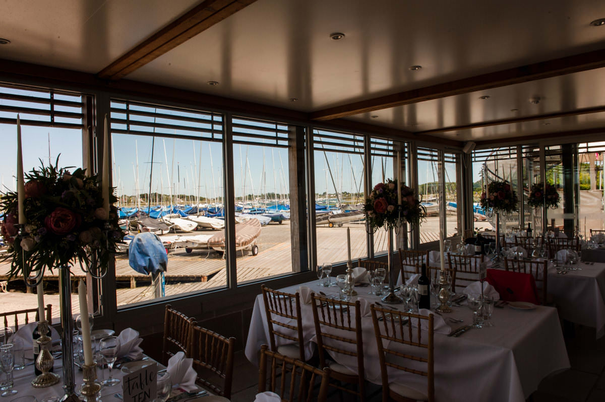 View from dining room at Itchenor Sailing Club wedding