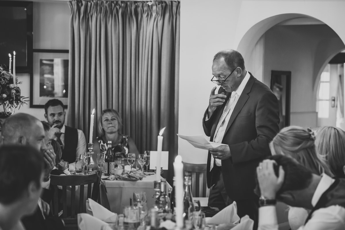 Father of the Bride giving his speech at Itchenor Sailing Club wedding