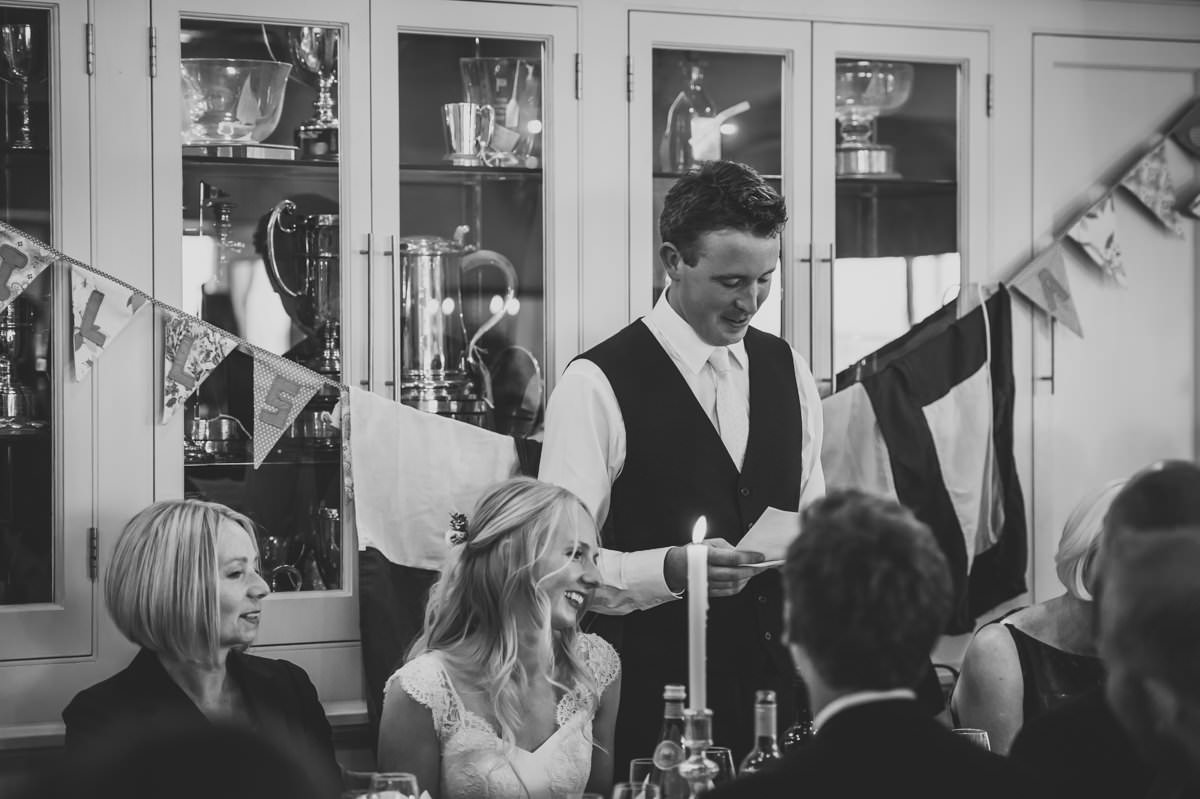 Groom making his wedding speech at Itchenor Sailing Club wedding
