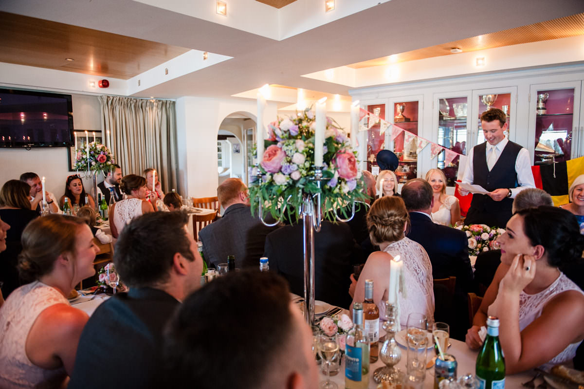 wedding speech at Itchenor Sailing Club summer wedding