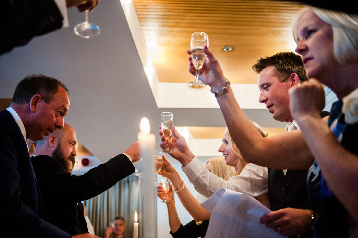 Champagne toast at Itchenor Sailing Club wedding