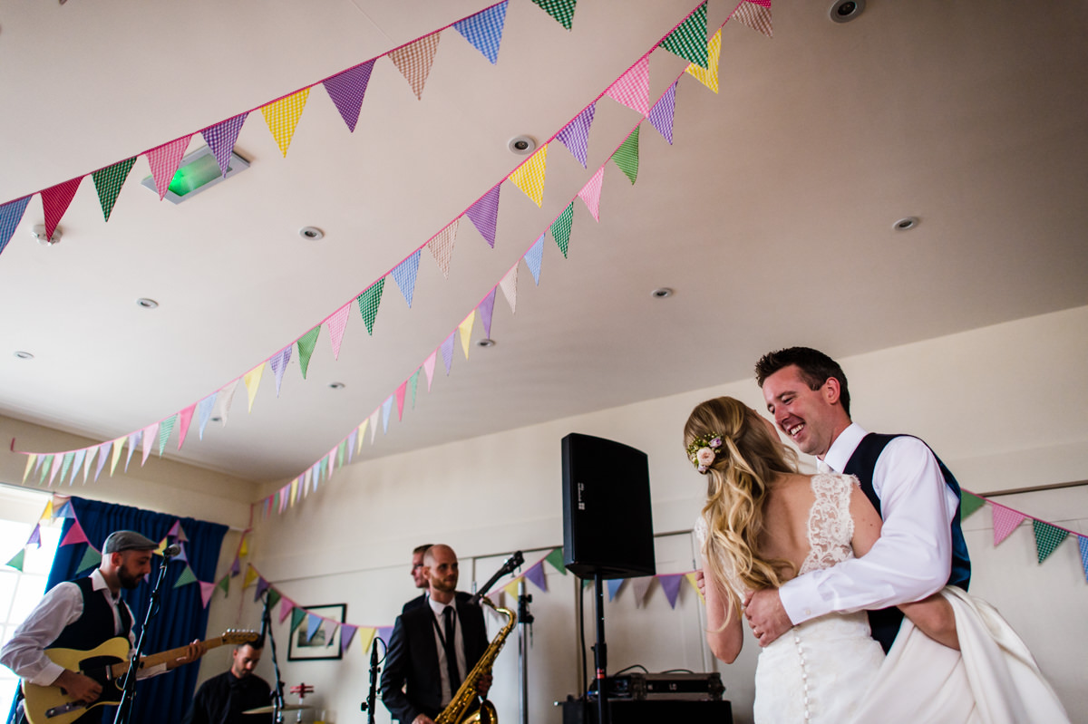 Bride and Groom having their first dance at Itchenor Sailing Club wedding