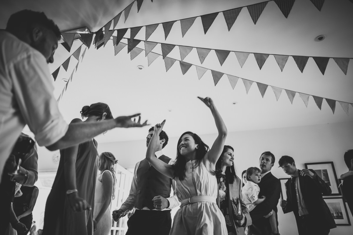 Guests enjoying the dancing at a sussex wedding