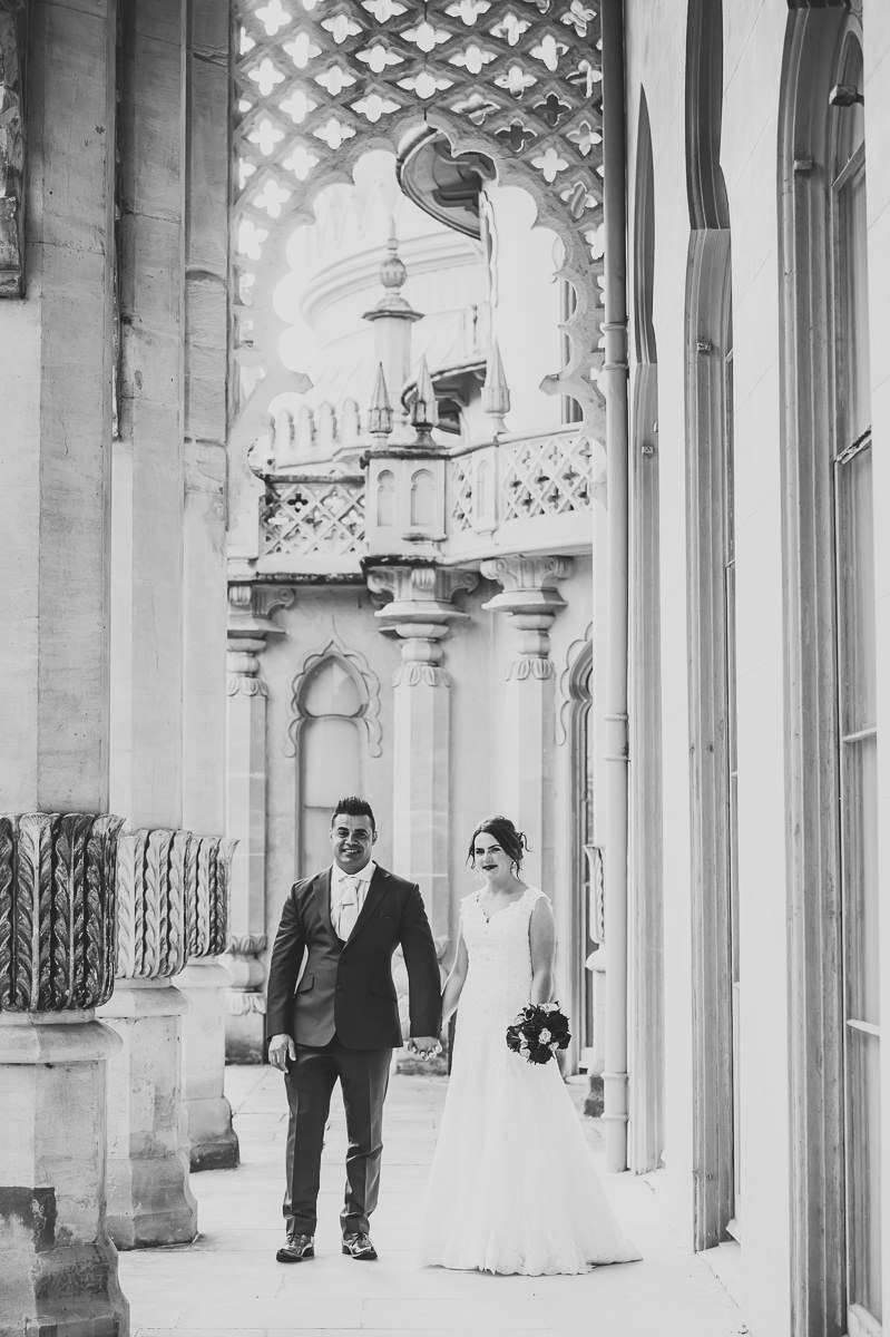 Bride and Groom on the Kings Terrace at the Royal Pavilion in Brighton