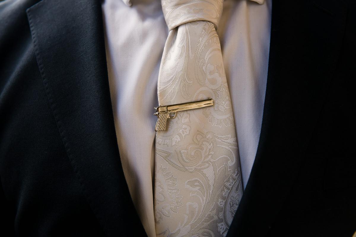 Groom's tie pin details