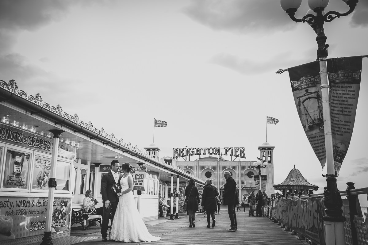 Newly weds on Brighton Pier