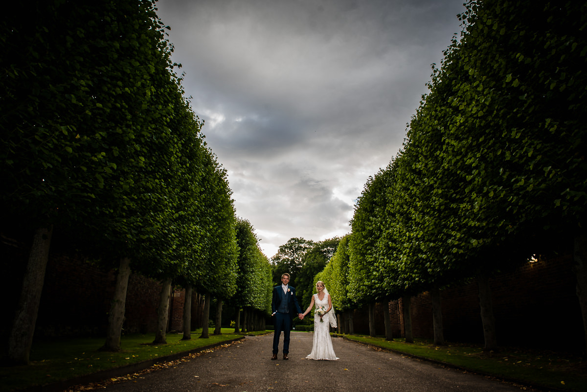 Bride and Groom in the gardens of Arley Hall, Cheshire