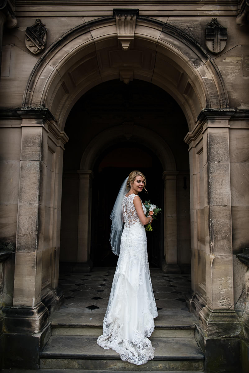 Bride in the doorway of Arley Hall