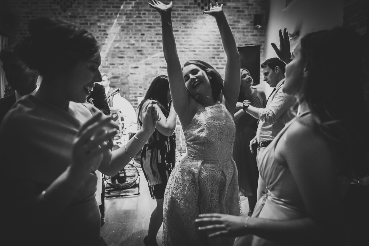 Guests dancing at a wedding at Arley Hall