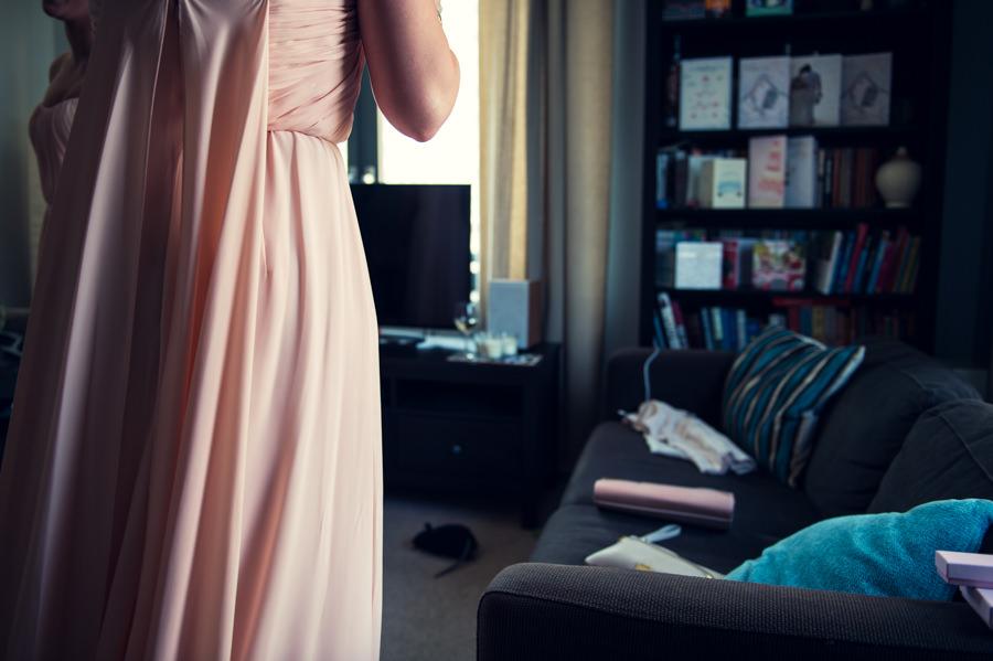 detail of bridesmaid dress