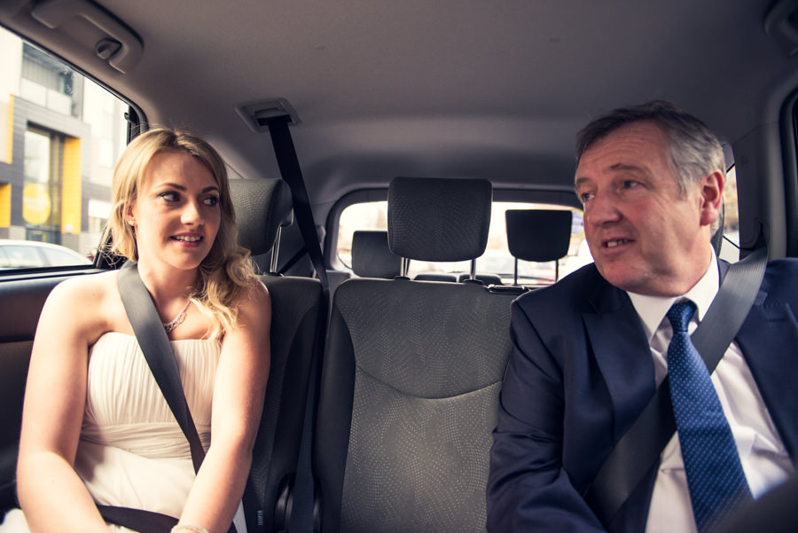 catherine and her dad in the car on the way to her wedding