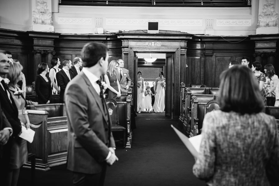 bride arriving at the council chamber of islington town hall
