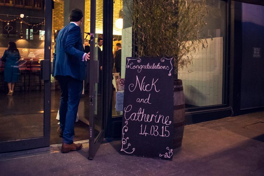 wedding board outside the Artisan of Clerkenwell