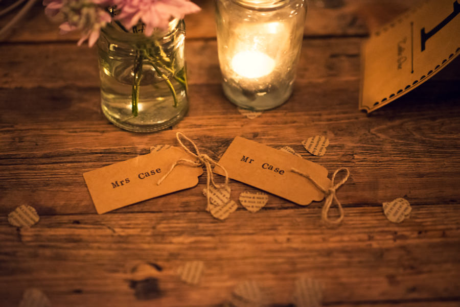 bride and groom place names at their the Artisan of Clerkenwell wedding