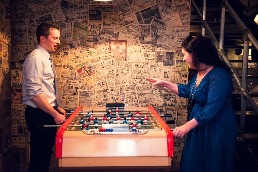 guests playing table footie
