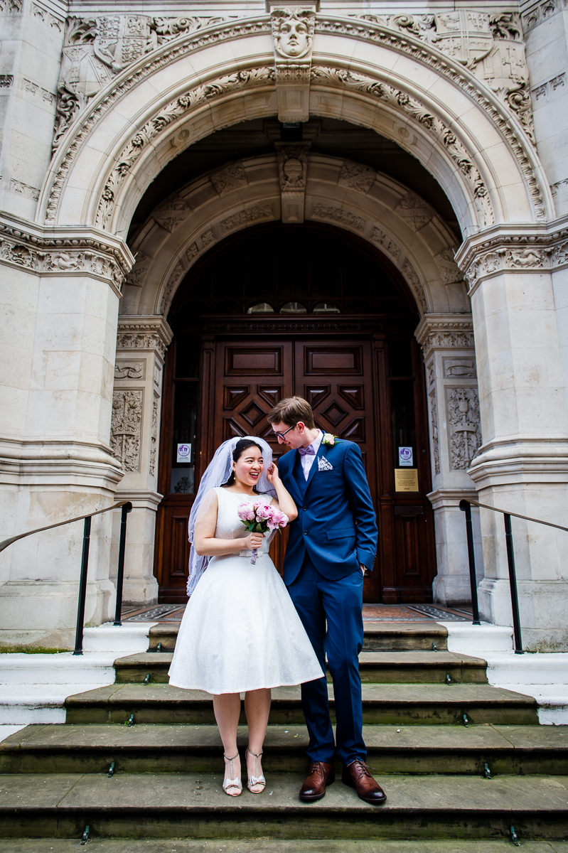 Newly Weds on the steps of Croydon Old Town Hall