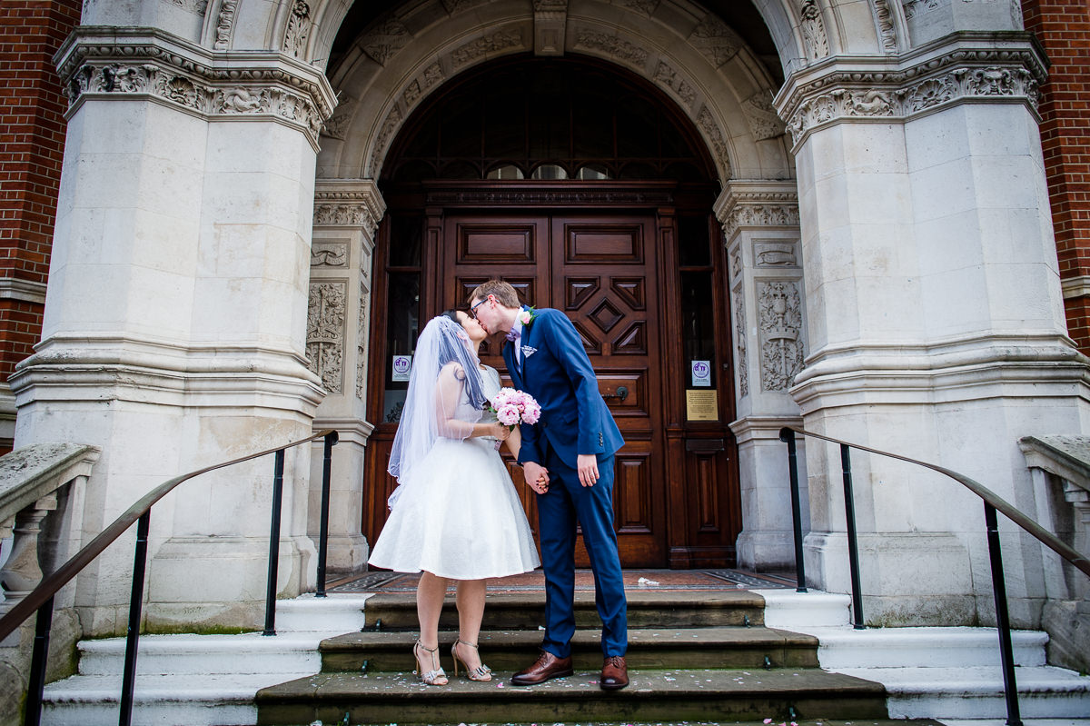 Bride and Groom at Croydon Registry office for their wedding