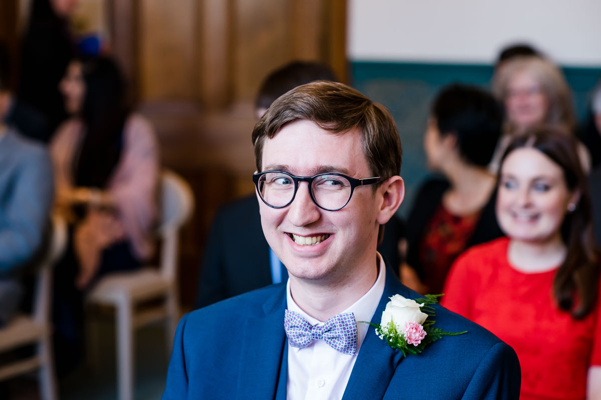 Croydon Registry Office Spring Wedding groom smiling