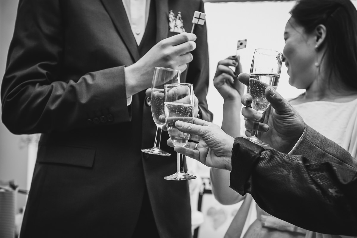 Champagne for the bride and groom at their surrey garden wedding