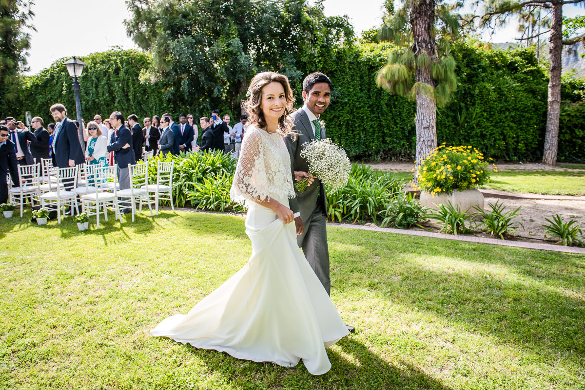 Happy smiling newly weds at their Spanish Destination wedding