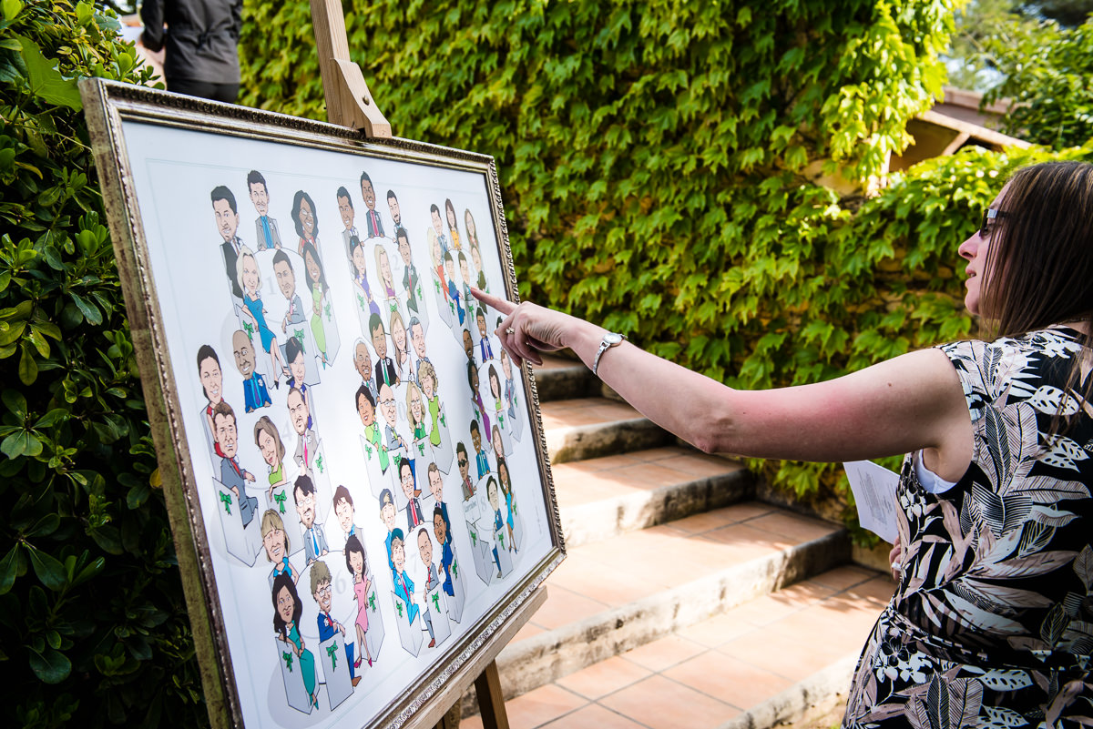 wedding guests looking at the table plan at a Spring casa santonja wedding