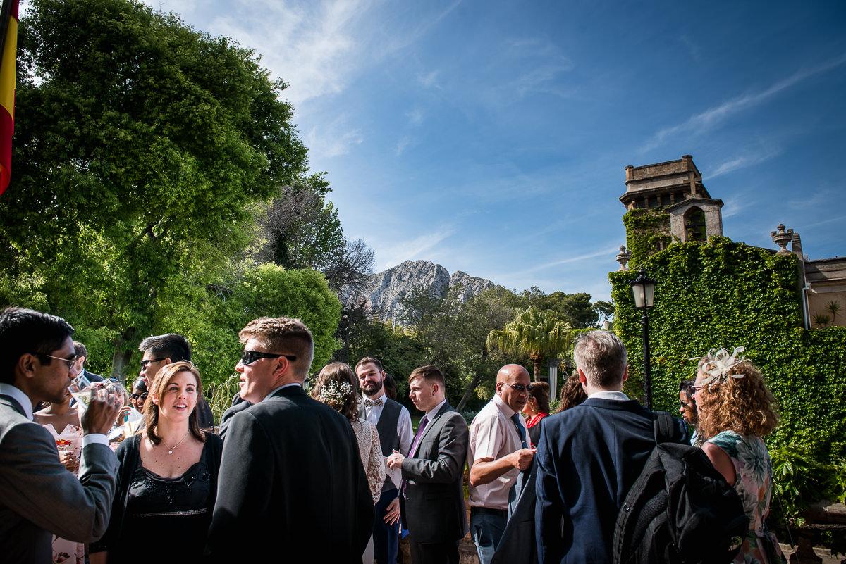 Wedding guests enjoying the spanish outdoors