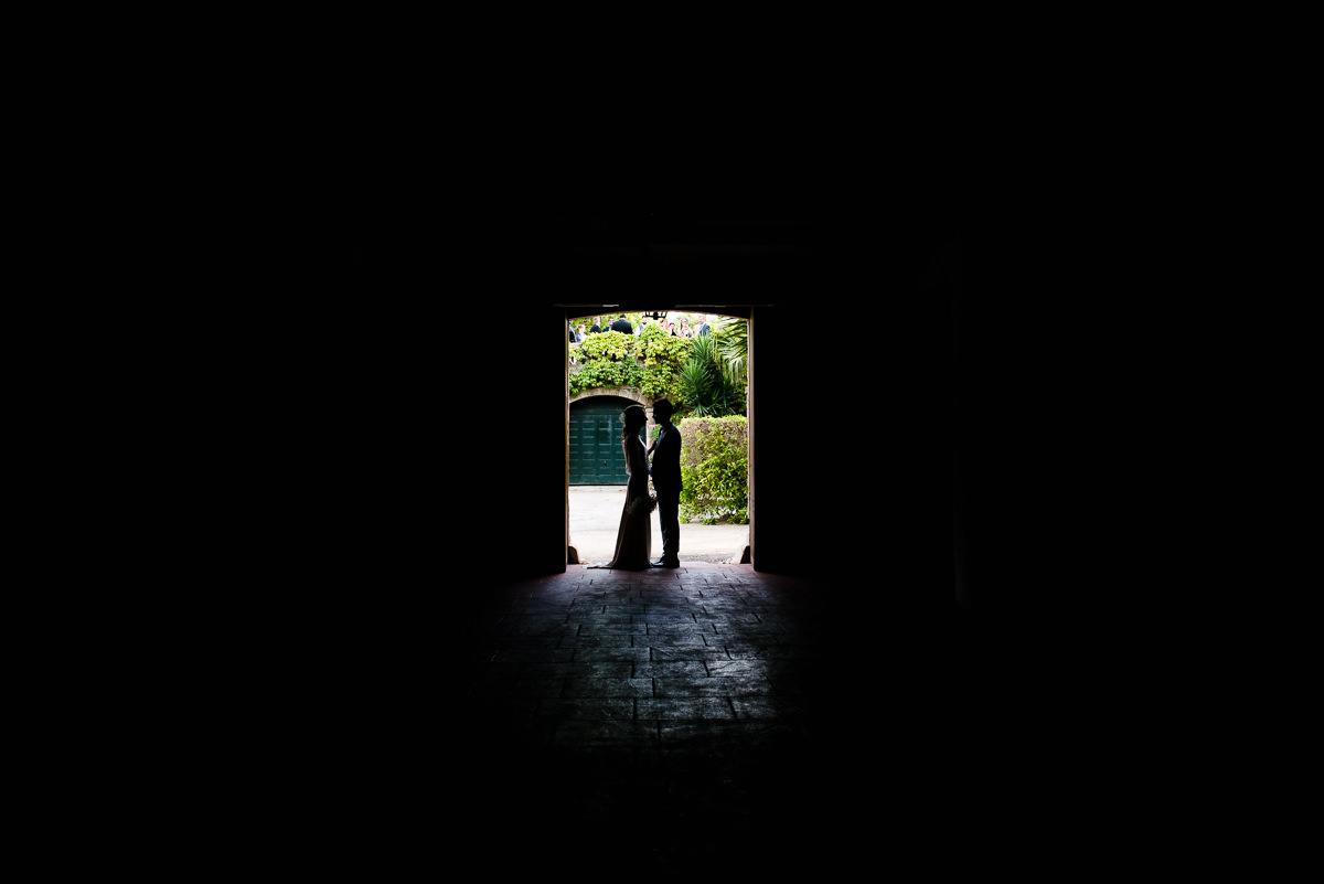 silhouette of newly weds at casa santonja