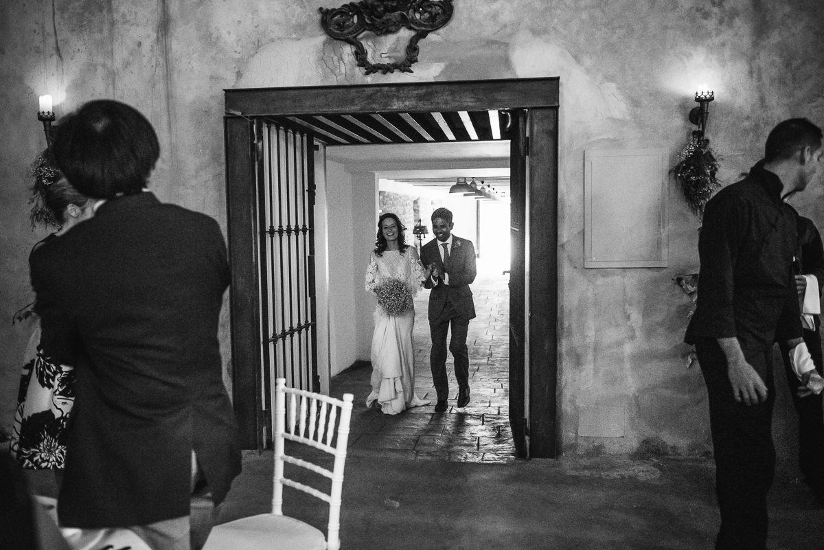 Bride & Groom entering the wedding dinner at their casa santonja wedding