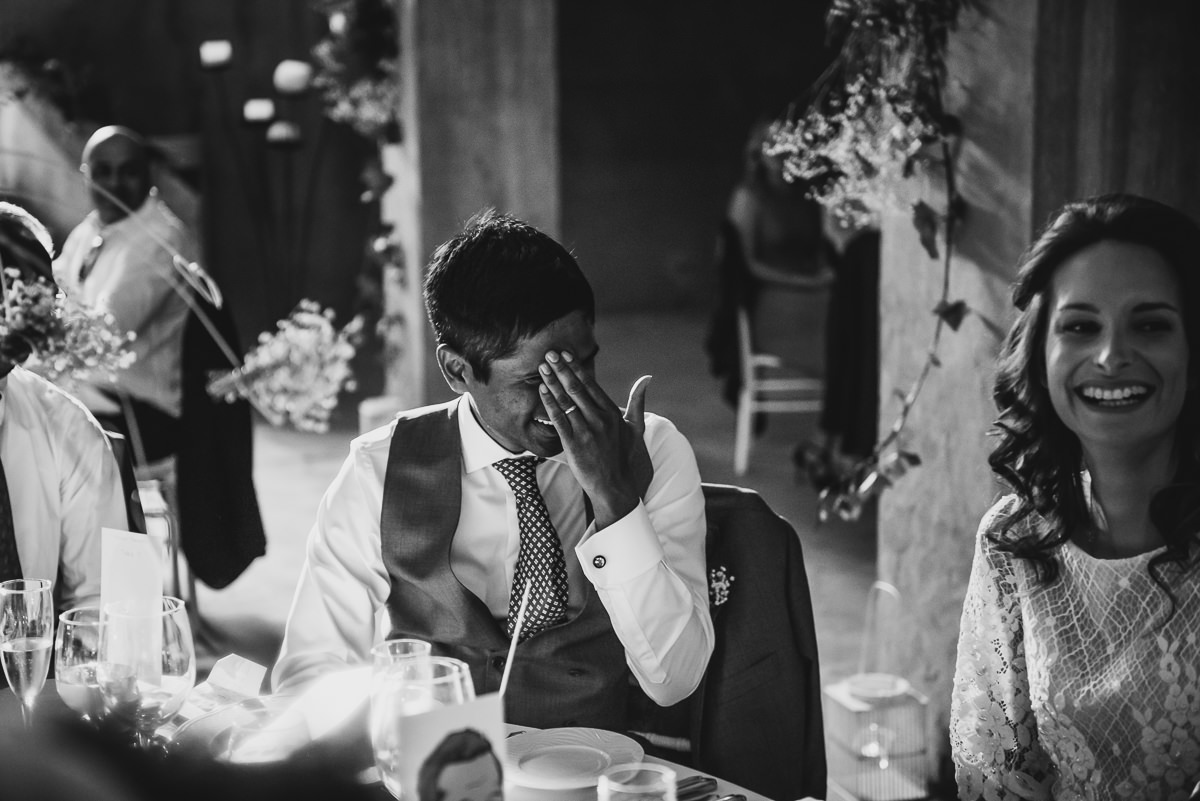 Groom embarrassed at wedding speeches