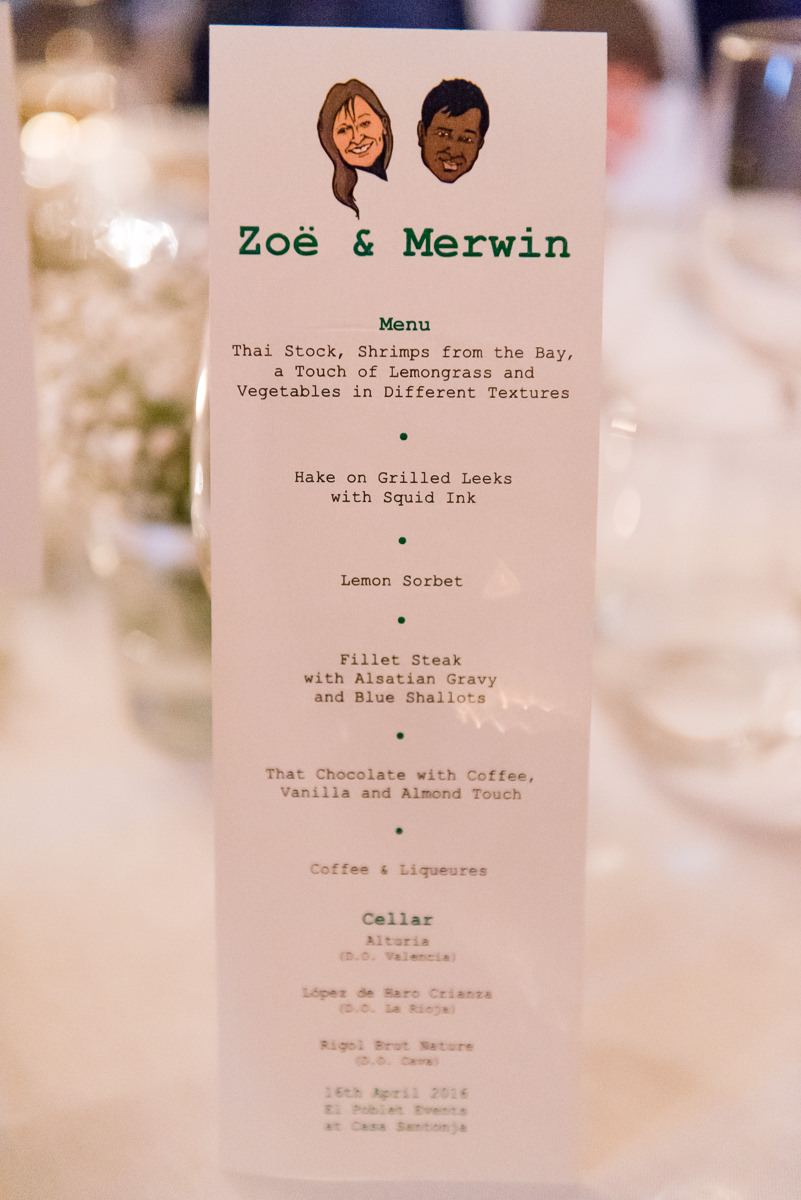 Spanish wedding dinner menu