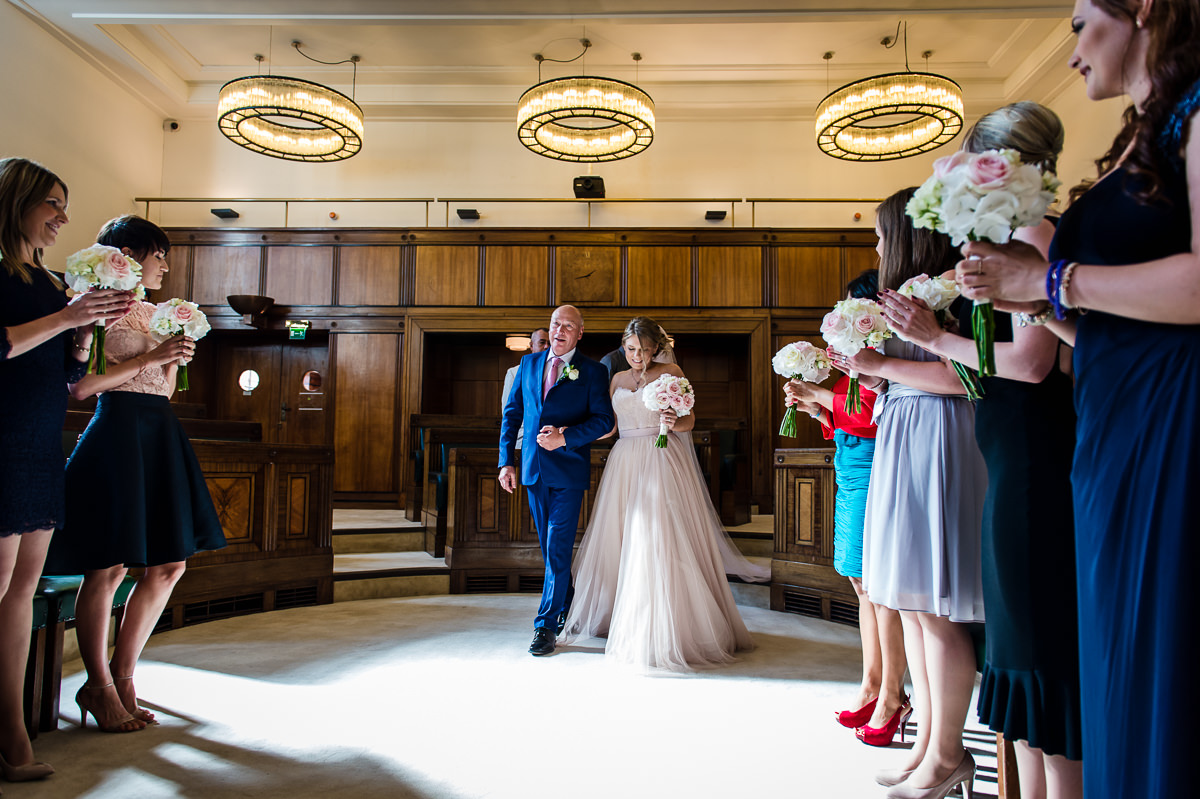 Town Hall Hotel wedding bride enters ceremony room with father